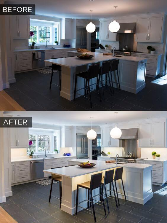 Before and after adding under cabinet lighting to a kitchen