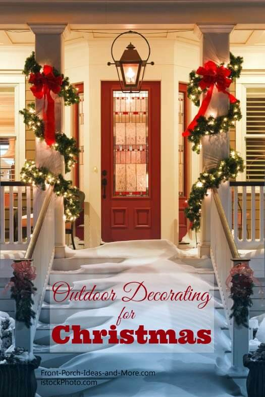 Garland and Red Bows | Christmas Door and Window Lighting Decorating Ideas
