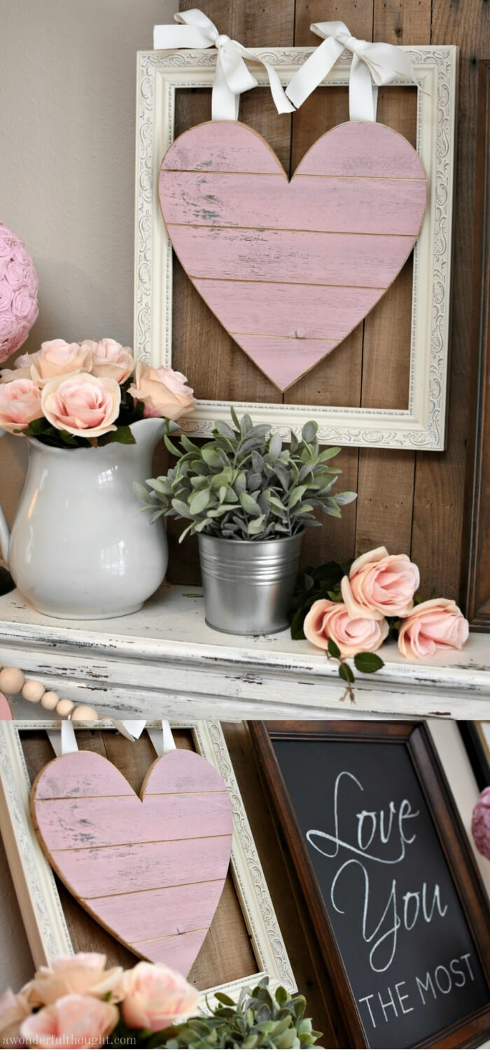 Pretty in Pink & Gray: Valentine's Day Mantel | Valentine's Day Decorating Ideas For Your Lovers | FarmFoodFamily.com