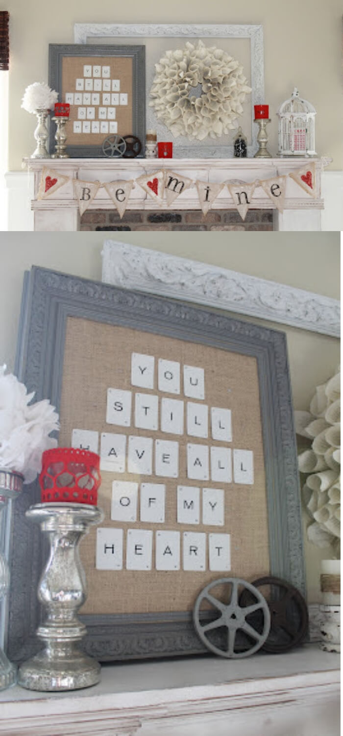 Whimsical Valentine Mantel | Valentine's Day Decorating Ideas For Your Lovers | FarmFoodFamily.com