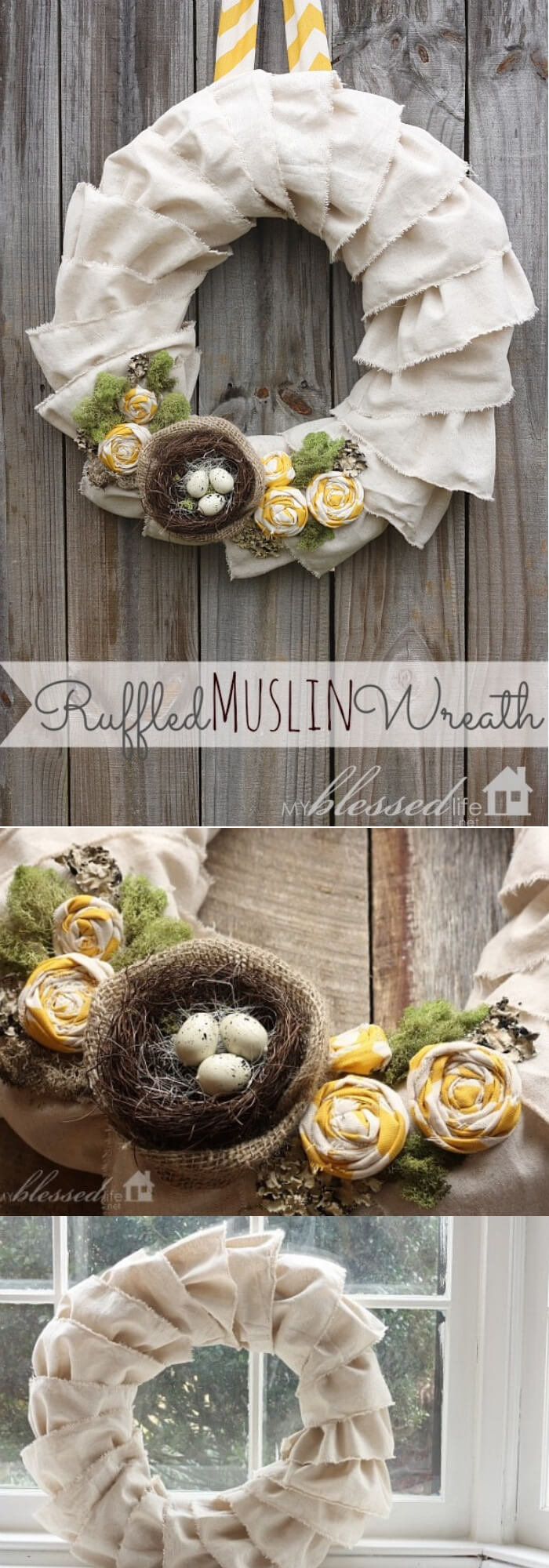 Easy and Simple DIY Spring Wreath Ideas | Ruffled Muslin Wreath