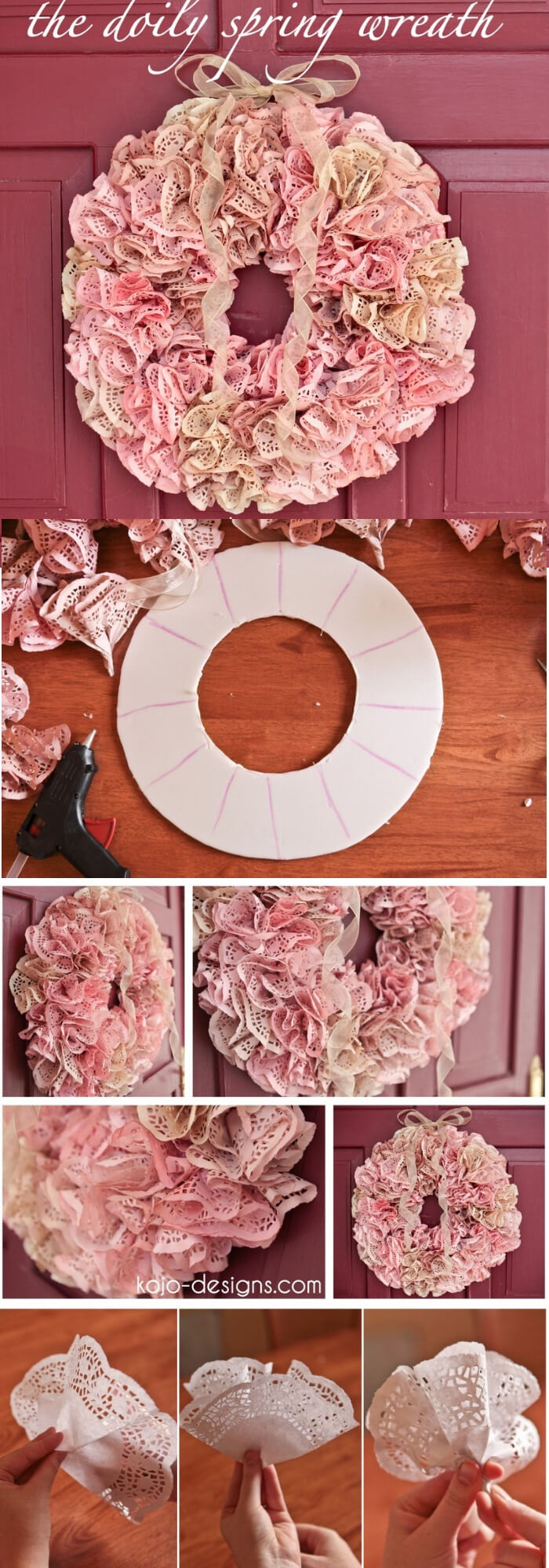 Easy and Simple DIY Spring Wreath Ideas | The doily Spring Wreath