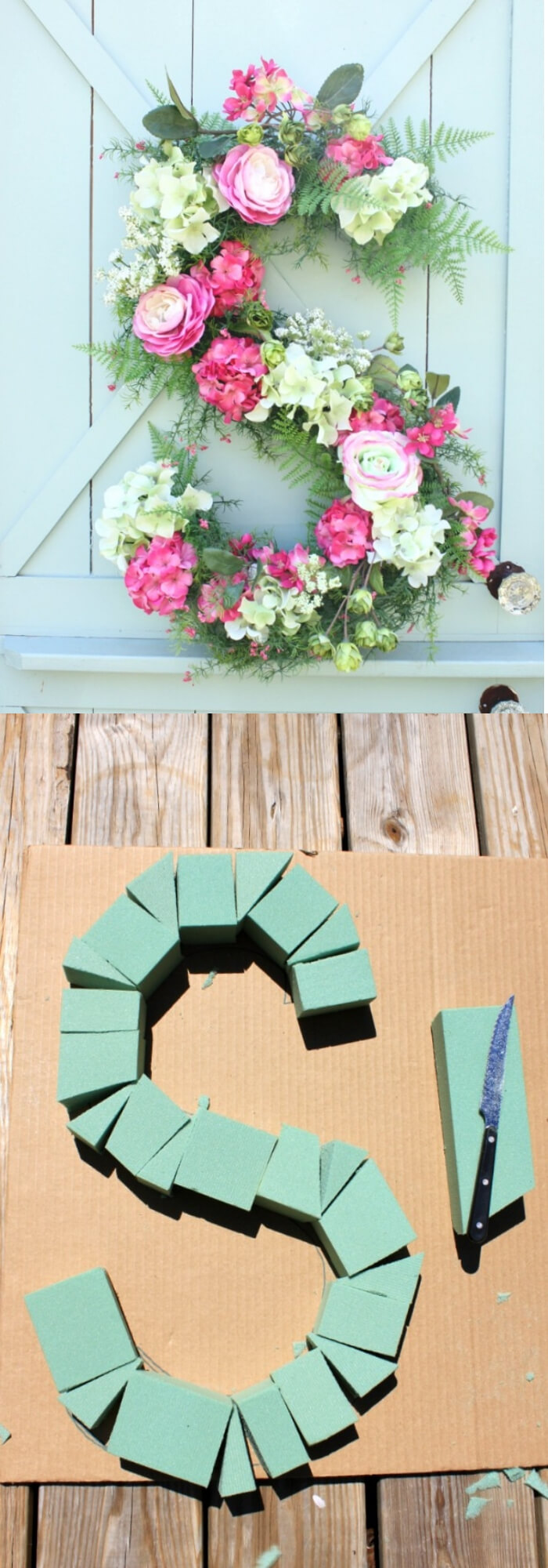 Easy and Simple DIY Spring Wreath Ideas | loral Monogram Wreath