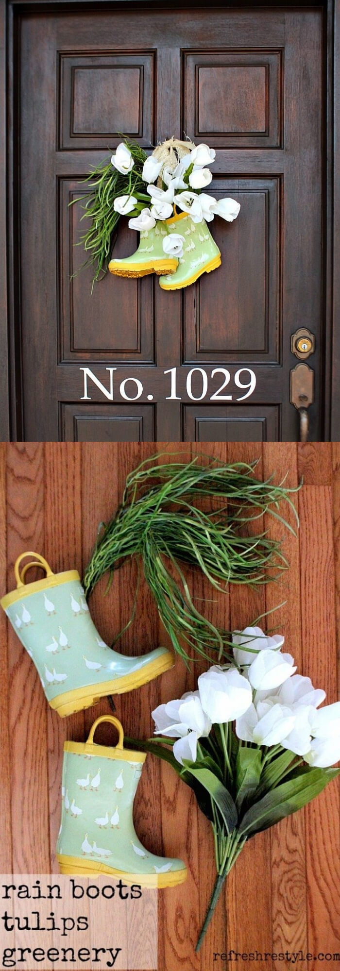 Easy and Simple DIY Spring Wreath Ideas | Rain boots Wreath