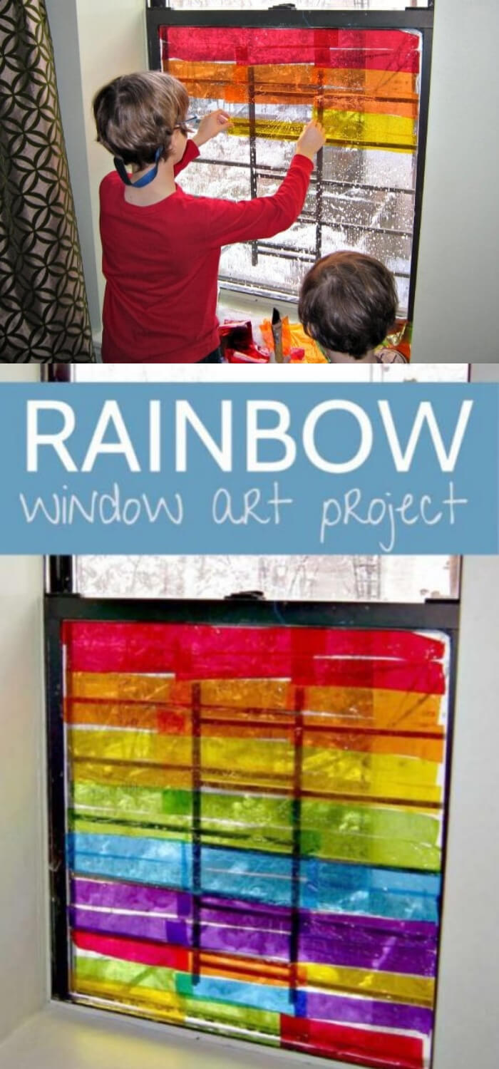 Children's Holiday Craft Ideas – Faux Stained Glass Valentine's Day Window Hangings | Rainbow Window Art