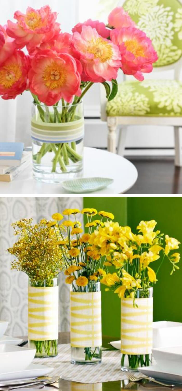 Quick Decorating Changes for Spring: Ribbon makeover +Cheery yellow