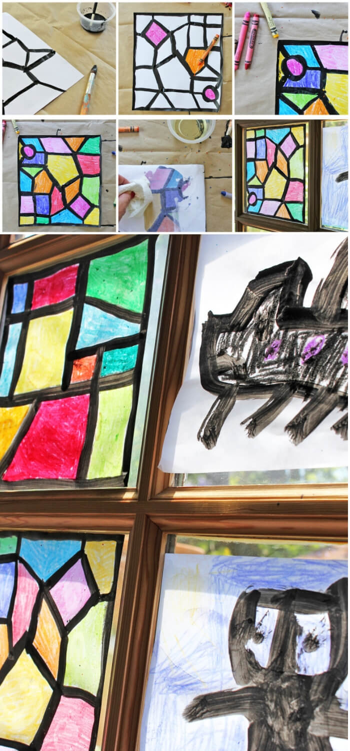 Children's Holiday Craft Ideas – Faux Stained Glass Valentine's Day Window Hangings | Faux Stained Glass
