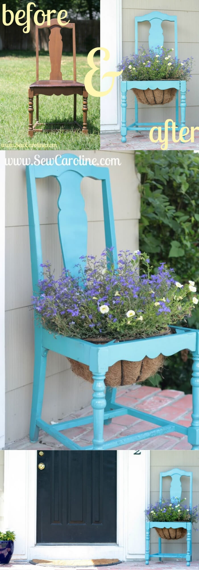 Before and After DIY Chair Planter   Creative Upcycled DIY Chair Planter Ideas For Your Garden