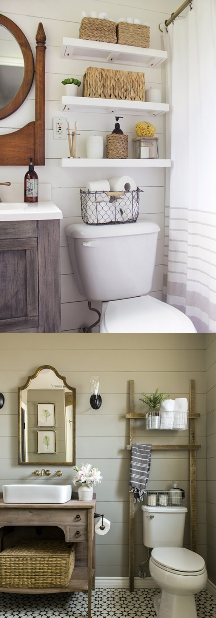 Cozy vintage feel (mixed rustic wood features into bathroom) | Best Small Bathroom Storage Designs & Ideas