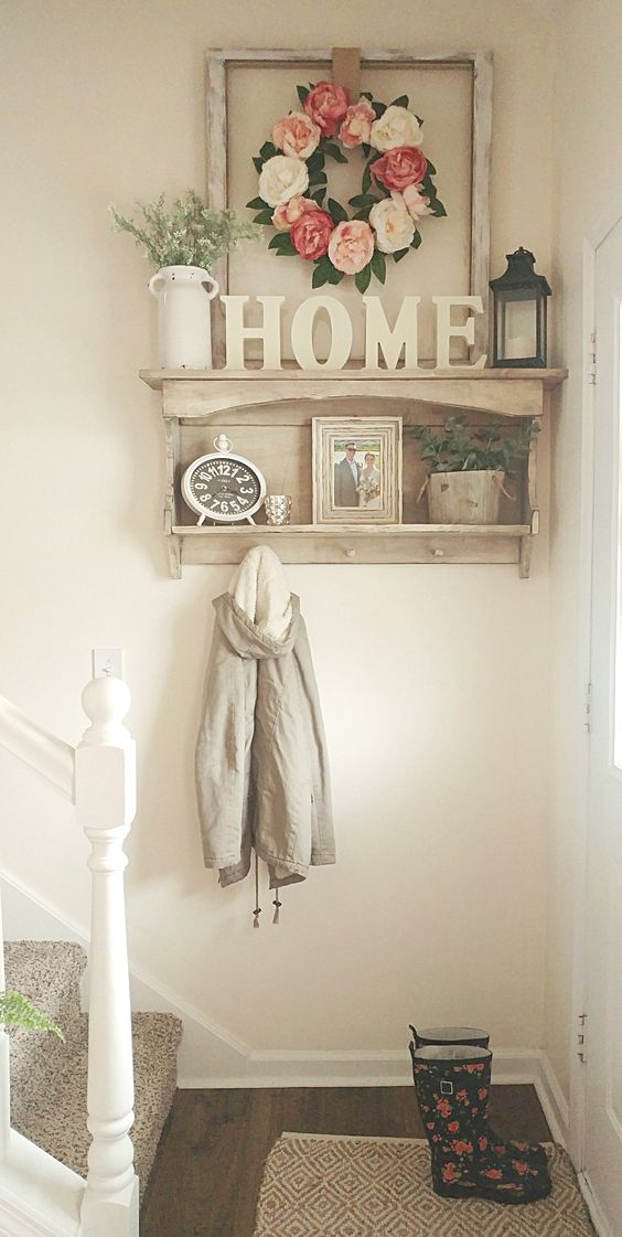 Small entryway spring flowers country white farmhouse style | Best Small Entryway Decor & Design Ideas | Small Mudroom Ideas | FarmFoodFamily.com