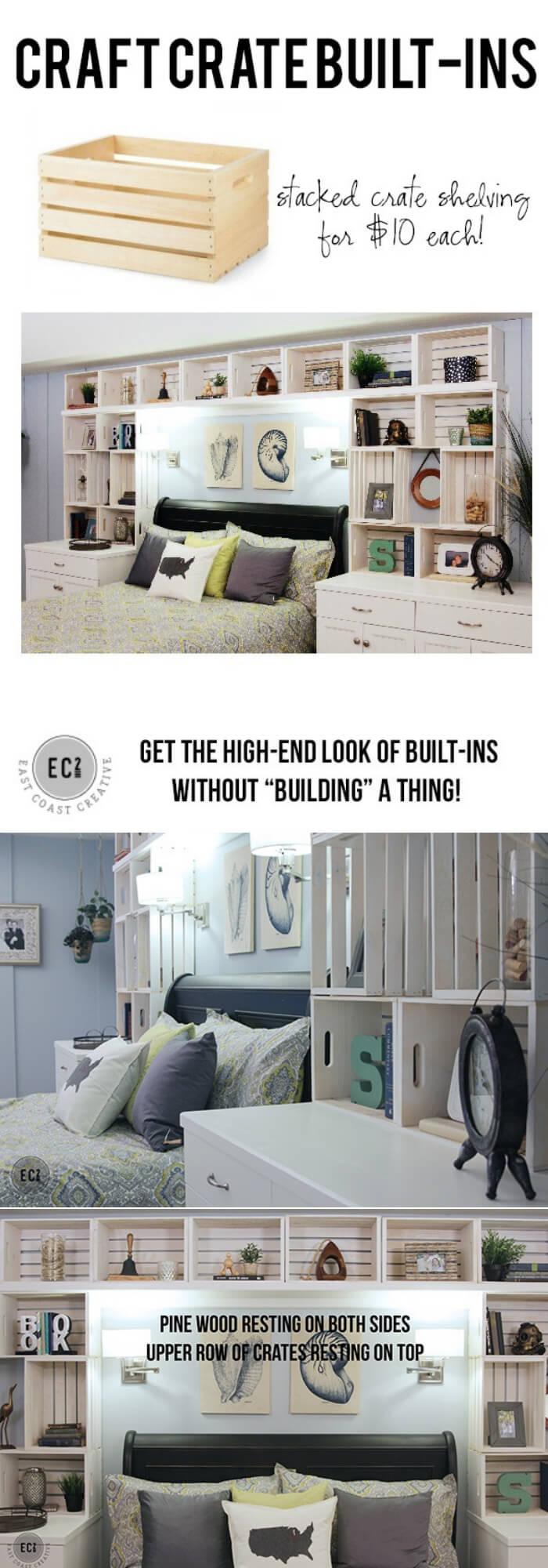 Crate Built-in Shelving | Best DIY Wood Crate Projects & Ideas
