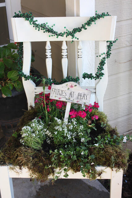 French Garden Chair   Creative Upcycled DIY Chair Planter Ideas For Your Garden