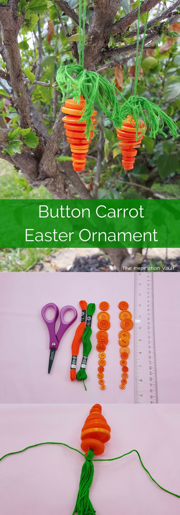 Button carrot Easter ornament   Creative Easter Garden Projects & Ideas Your Kids Will Love
