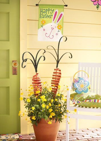 Carrots in the Easter-time Flower Pot | Best Easter Porch Decorating Ideas