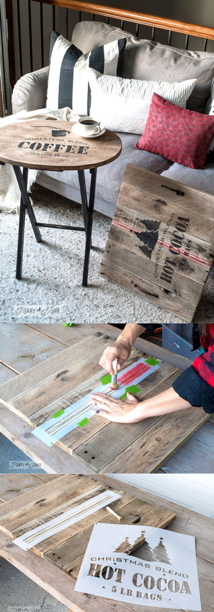 Wooden Coffee Table with Hot cocoaStencil | Best Farmhouse Living Room Decor & Design Ideas
