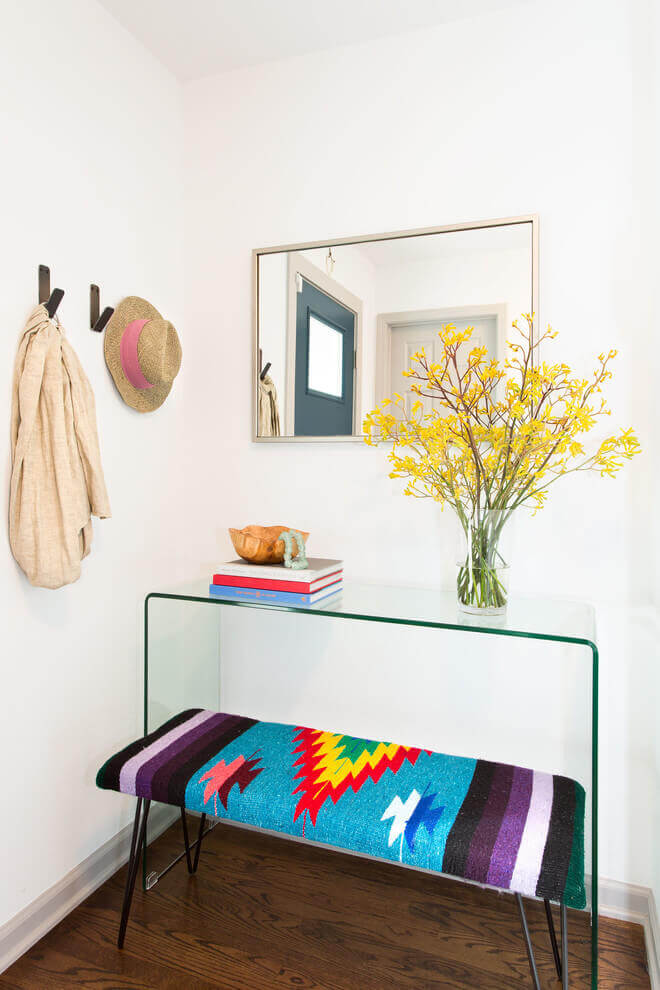A glass console table | Best Small Entryway Decor & Design Ideas | Small Mudroom Ideas | FarmFoodFamily.com