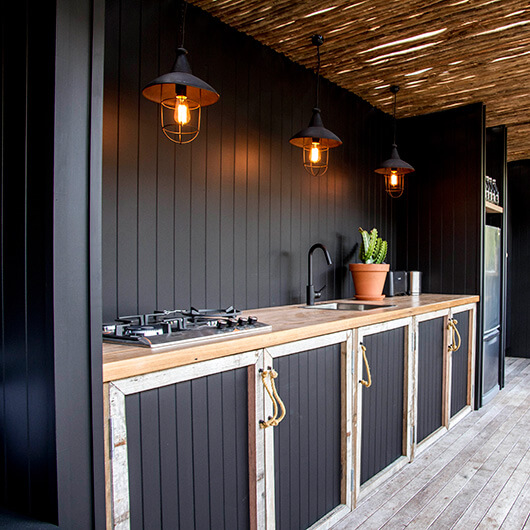 Black Chic Kitchen With Lighting | DIY Outdoor Kitchen Ideas (Cheap, Simple, Modern, and Country)