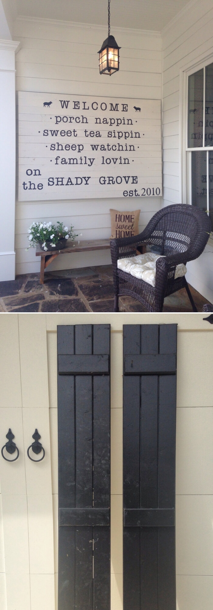 Welcome Cardboard from old shutters | Best Outdoor Wall Decor Ideas