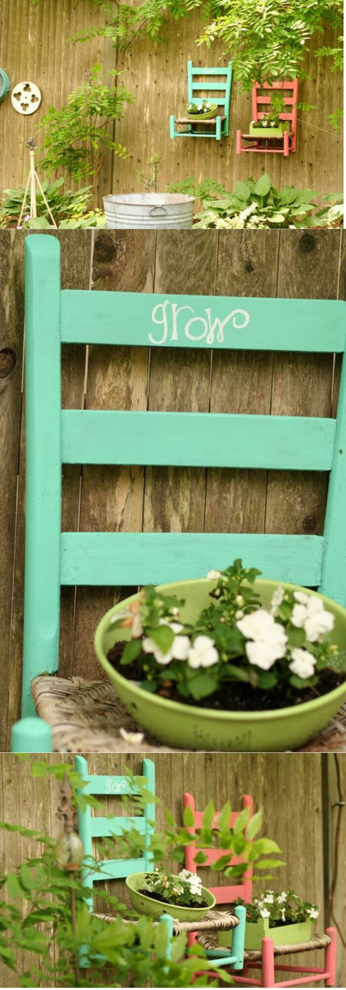 Hanging Chair Planter   Creative Upcycled DIY Chair Planter Ideas For Your Garden