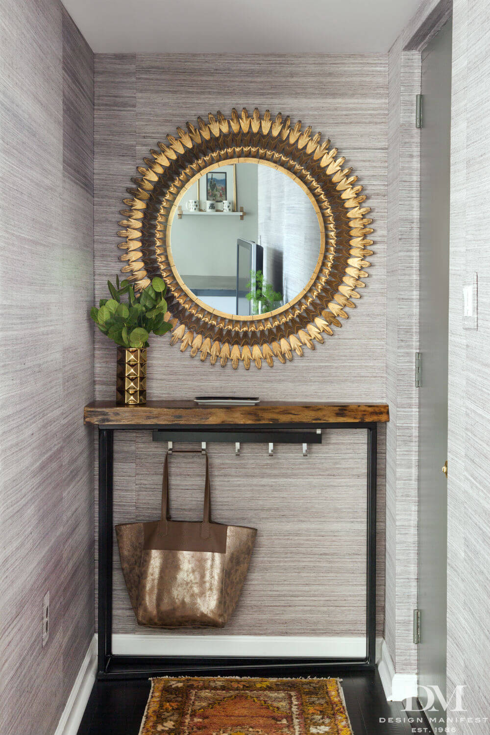 Sun mirror above console table | Best Small Entryway Decor & Design Ideas | Small Mudroom Ideas | FarmFoodFamily.com