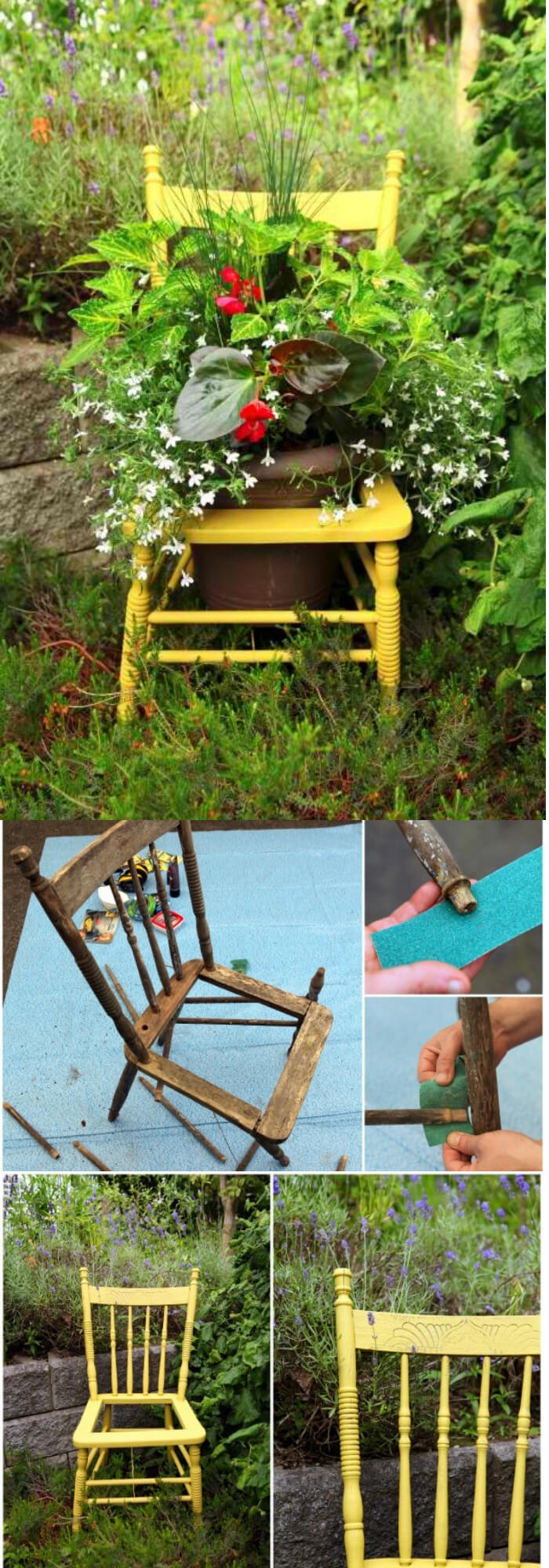 Piece of sunshine   Creative Upcycled DIY Chair Planter Ideas For Your Garden