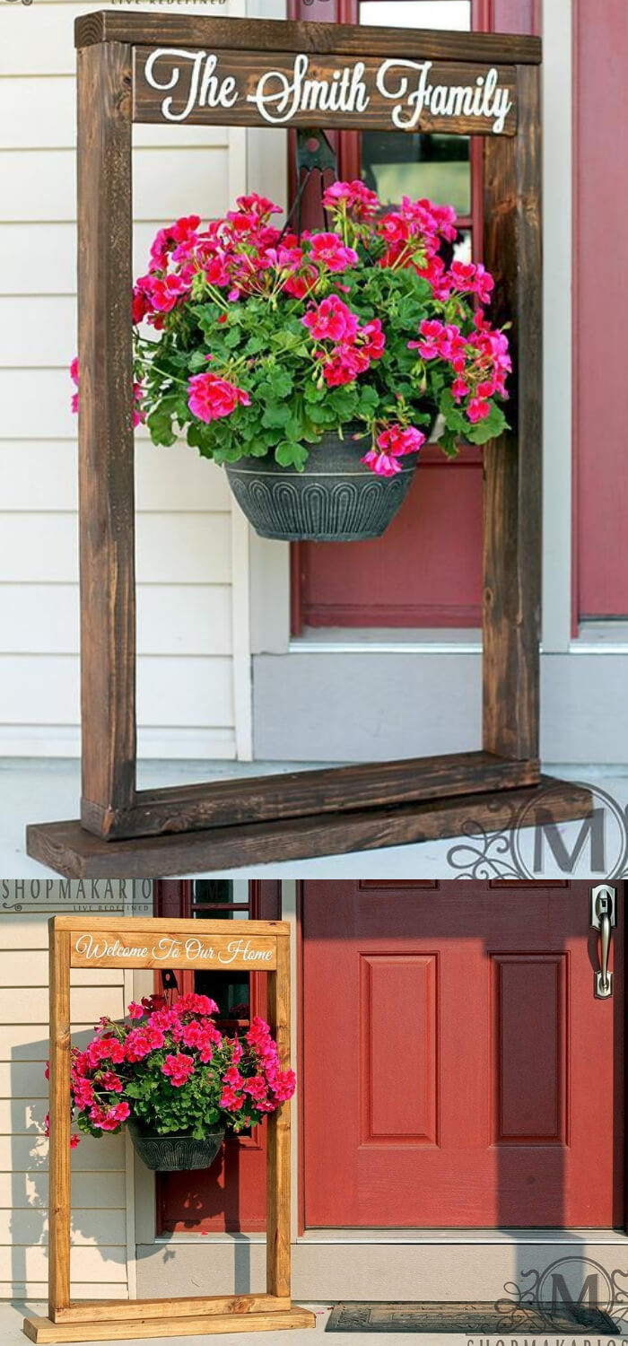Reclaimed wood plant stand with welcome sign | DIY Spring Porch Decor Designs & Ideas