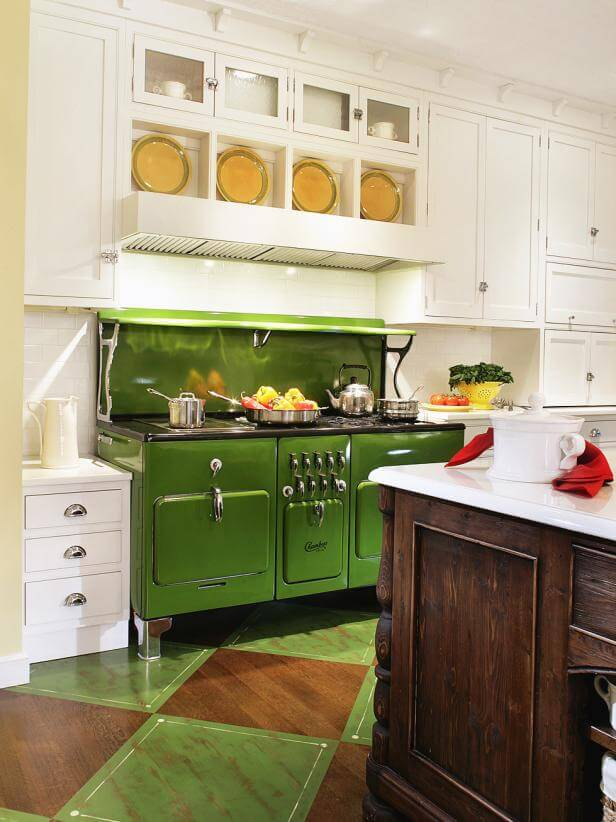 White with green stove | Best White Kitchen Cabinet Decor Ideas