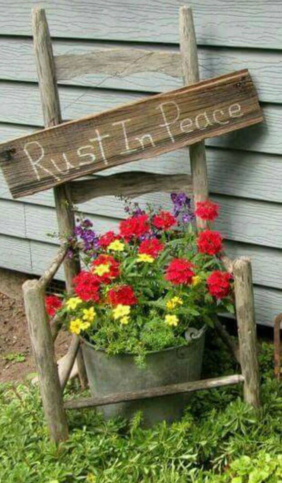 Rust in peace   Creative Upcycled DIY Chair Planter Ideas For Your Garden