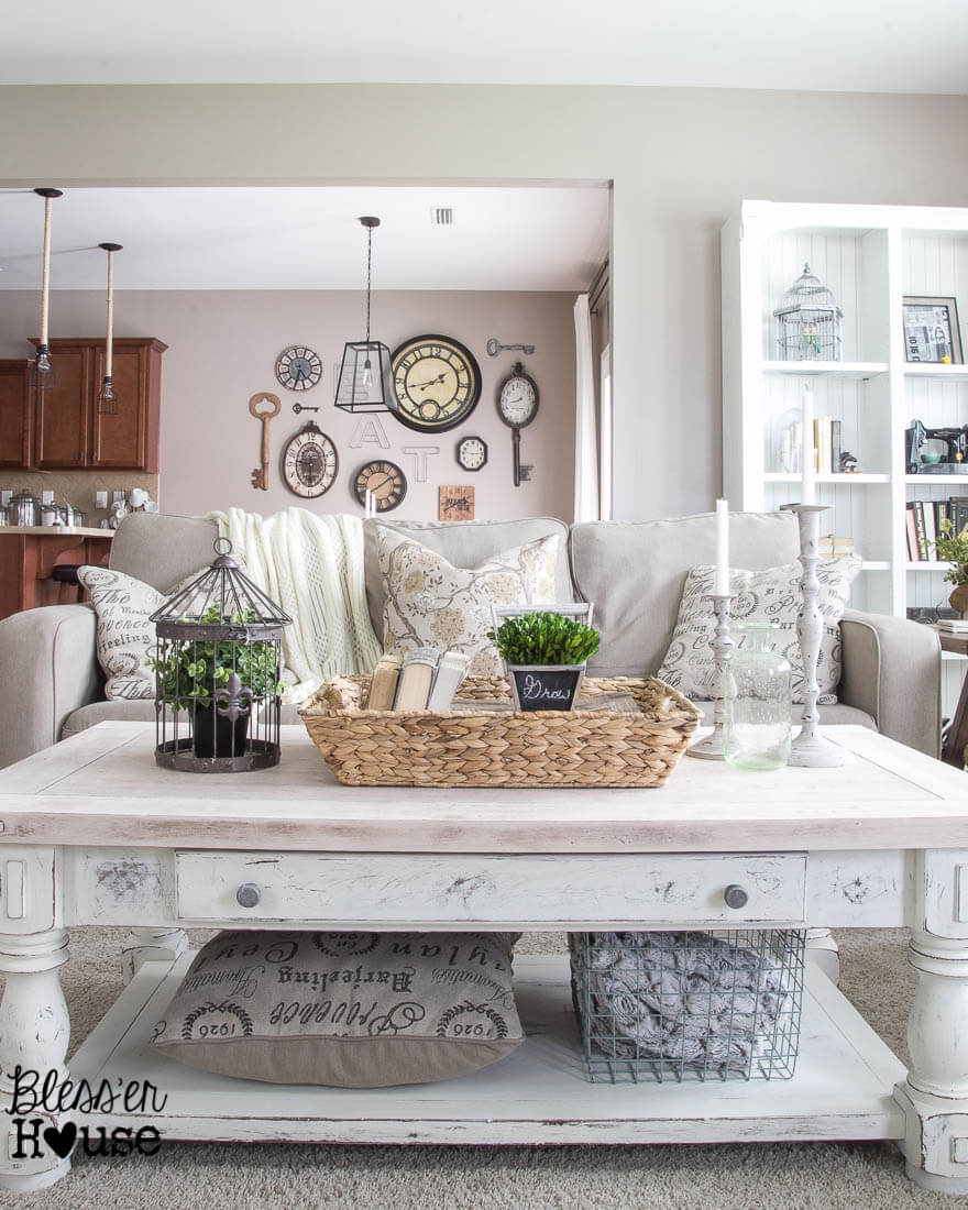 Chippy White Lime Finished Coffee Table | Best Farmhouse Living Room Decor & Design Ideas