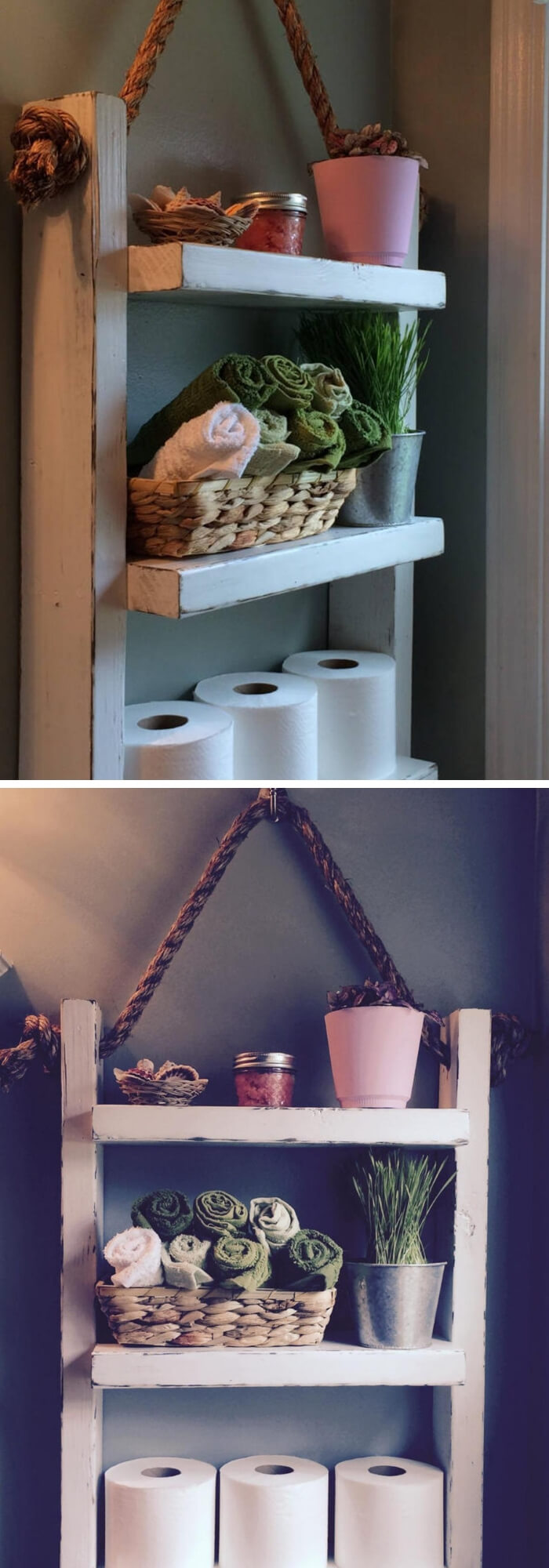 Rope Hanging Shelf | Best Over the Toilet Storage Ideas for Bathroom