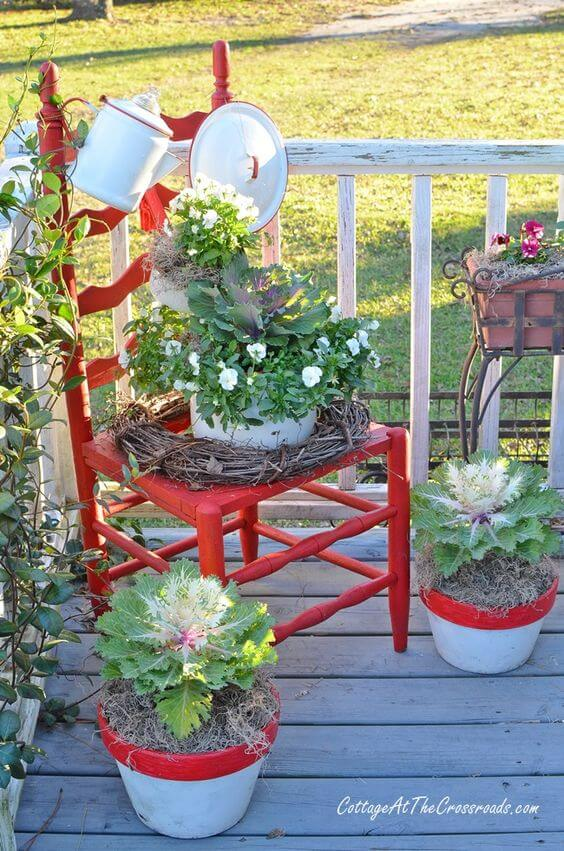 Farmhouse Red Chair Planter   Creative Upcycled DIY Chair Planter Ideas For Your Garden