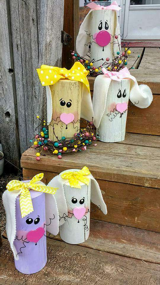 Cute Bunny Log | Best Easter Porch Decorating Ideas