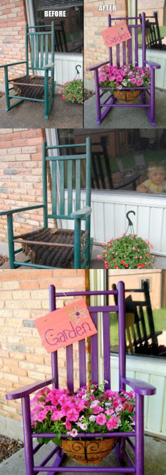 The rocking chair planter (before and after)   Creative Upcycled DIY Chair Planter Ideas For Your Garden