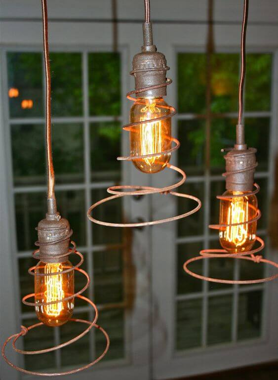 Bed springs upcycle | Trending & Vintage Porch Lighting Ideas & Designs | FarmFoodFamily.com