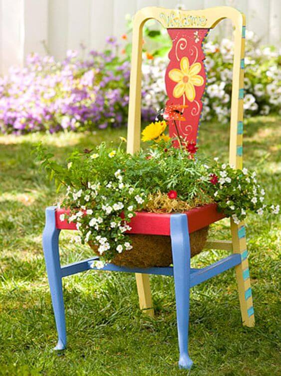 Recycled flower chair   Creative Upcycled DIY Chair Planter Ideas For Your Garden