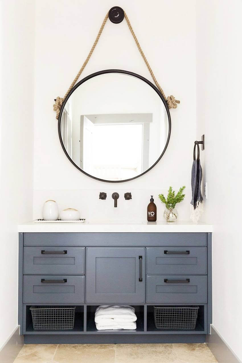 Mixing up your storage with drawers, cabinet doors, and open shelving | Best Small Bathroom Storage Designs & Ideas