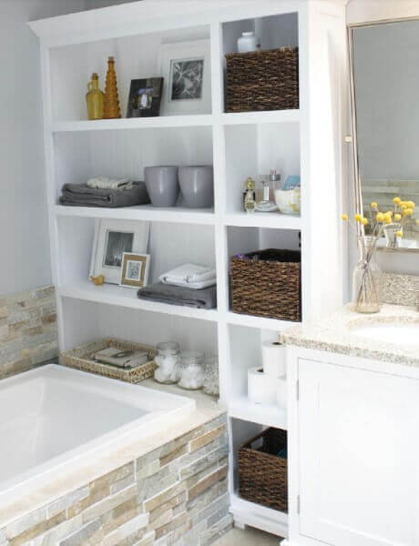 Upcycled Bookshelves | Best Small Bathroom Storage Designs & Ideas