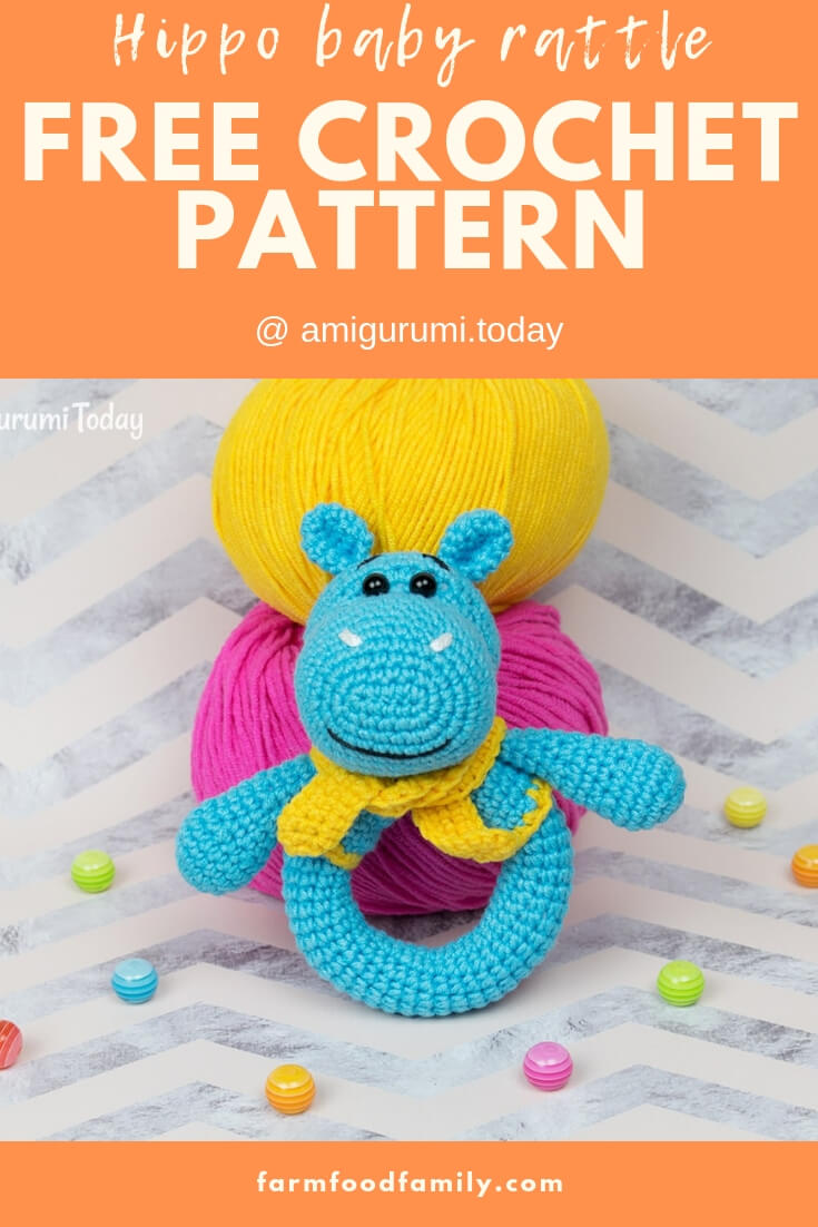 Hippo Baby Rattle | Rattle Free Crochet Patterns For Baby