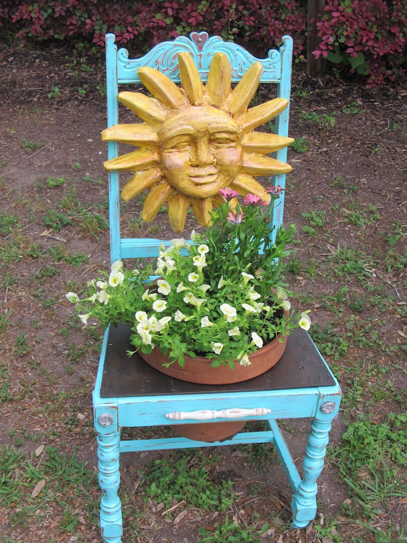 Painted Sunshine Chair   Creative Upcycled DIY Chair Planter Ideas For Your Garden