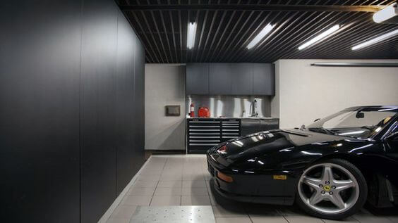 Cool Garage Lighting Layout With Black Ceiling And Cabinets   Best Garage Lighting Designs & Ideas