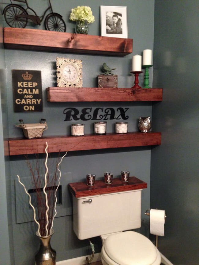 Wooden shelves with keep calm sign | Best Over the Toilet Storage Ideas for Bathroom