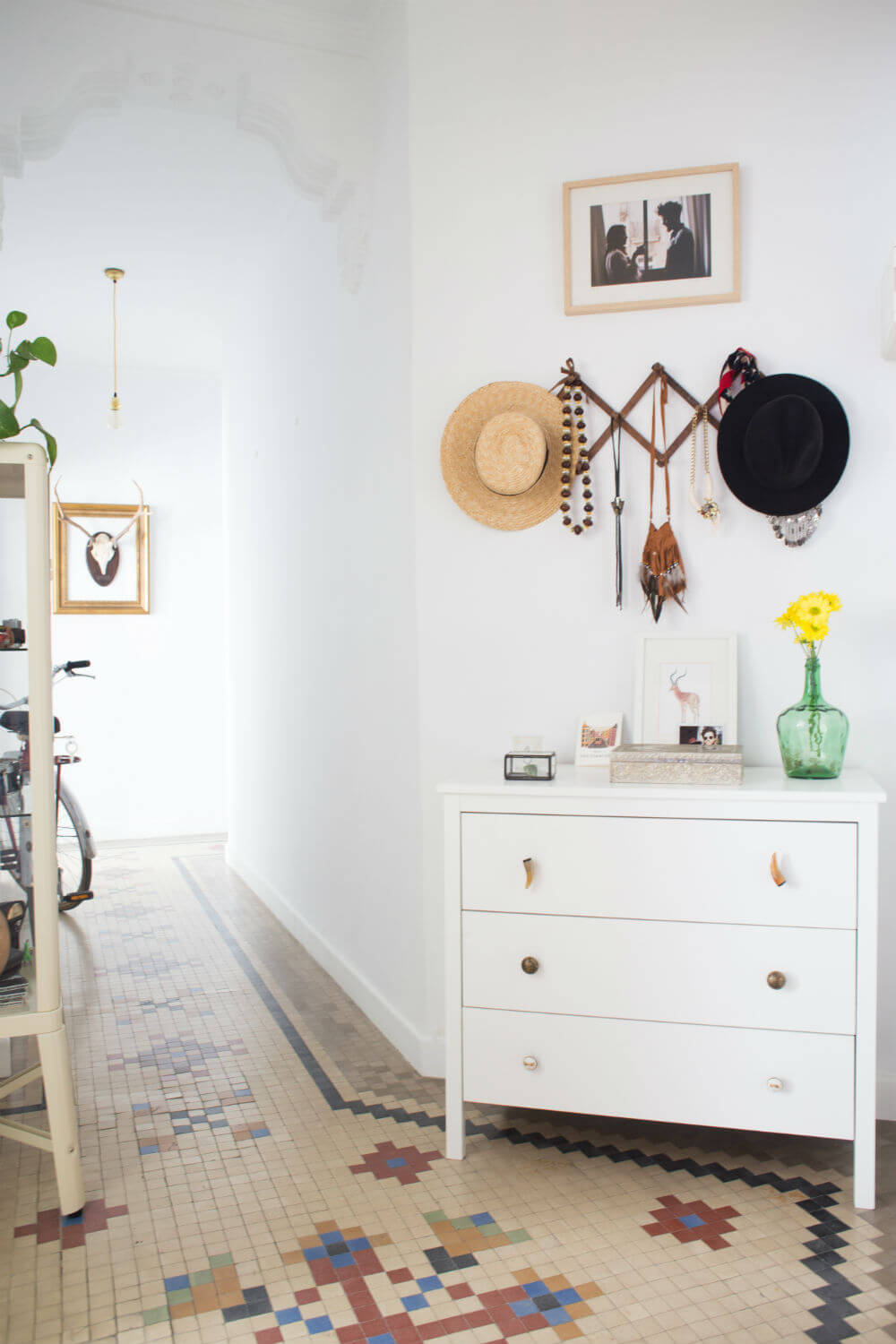 With A Small Dresser | Best Small Entryway Decor & Design Ideas | Small Mudroom Ideas | FarmFoodFamily.com
