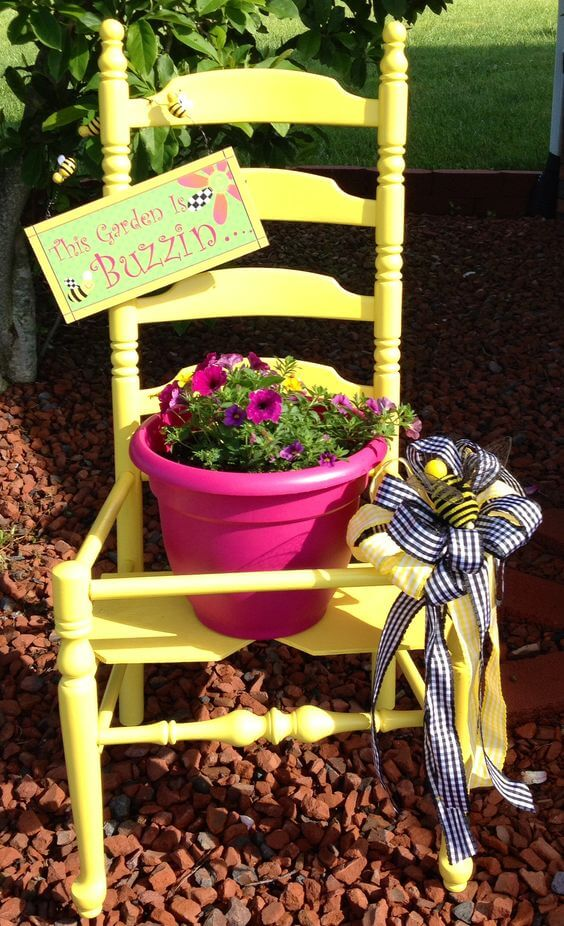 Ladderback chair   Creative Upcycled DIY Chair Planter Ideas For Your Garden