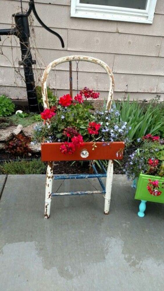 Drawer planter   Creative Upcycled DIY Chair Planter Ideas For Your Garden