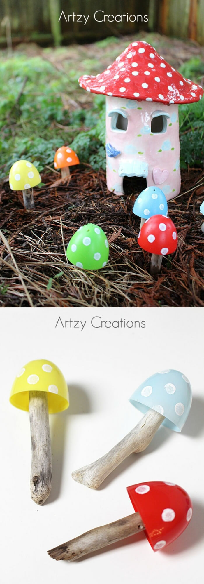 Recycled Plastic Easter Egg Toadstools   Creative Easter Garden Projects & Ideas Your Kids Will Love
