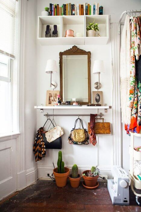 Dressing it up with some plants | Best Small Entryway Decor & Design Ideas | Small Mudroom Ideas | FarmFoodFamily.com