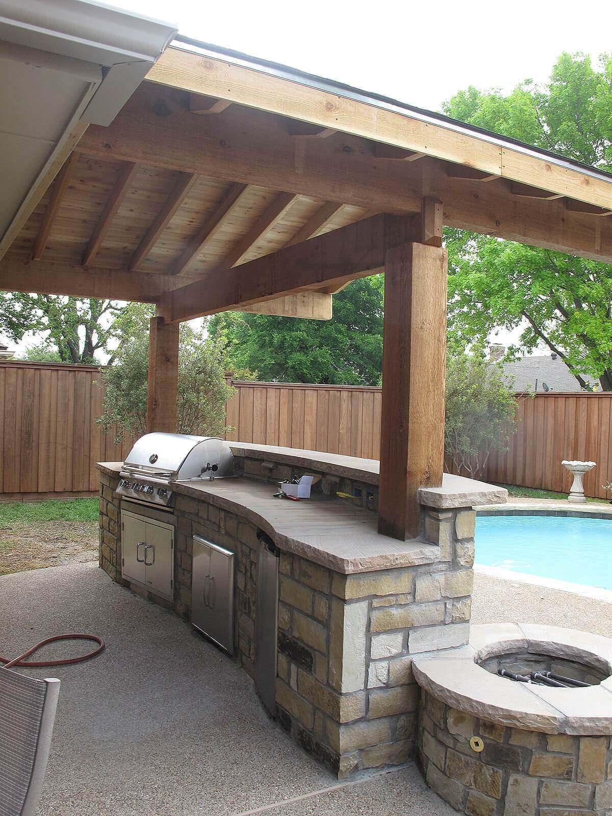 Stone bar with fire pit | DIY Outdoor Kitchen Ideas (Cheap, Simple, Modern, and Country)