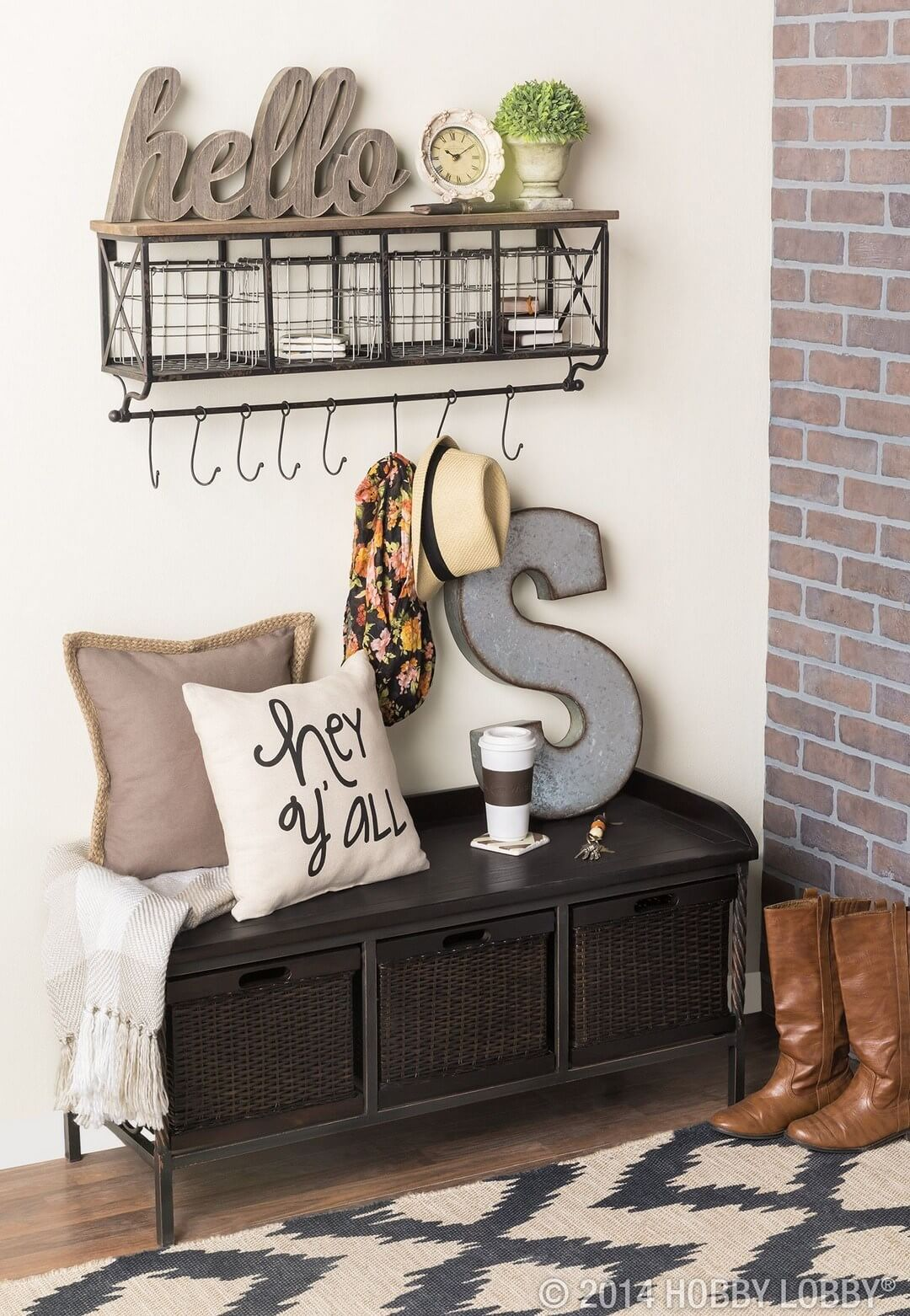 Creative Hanger and black Storage Bench | Best Small Entryway Decor & Design Ideas | Small Mudroom Ideas | FarmFoodFamily.com