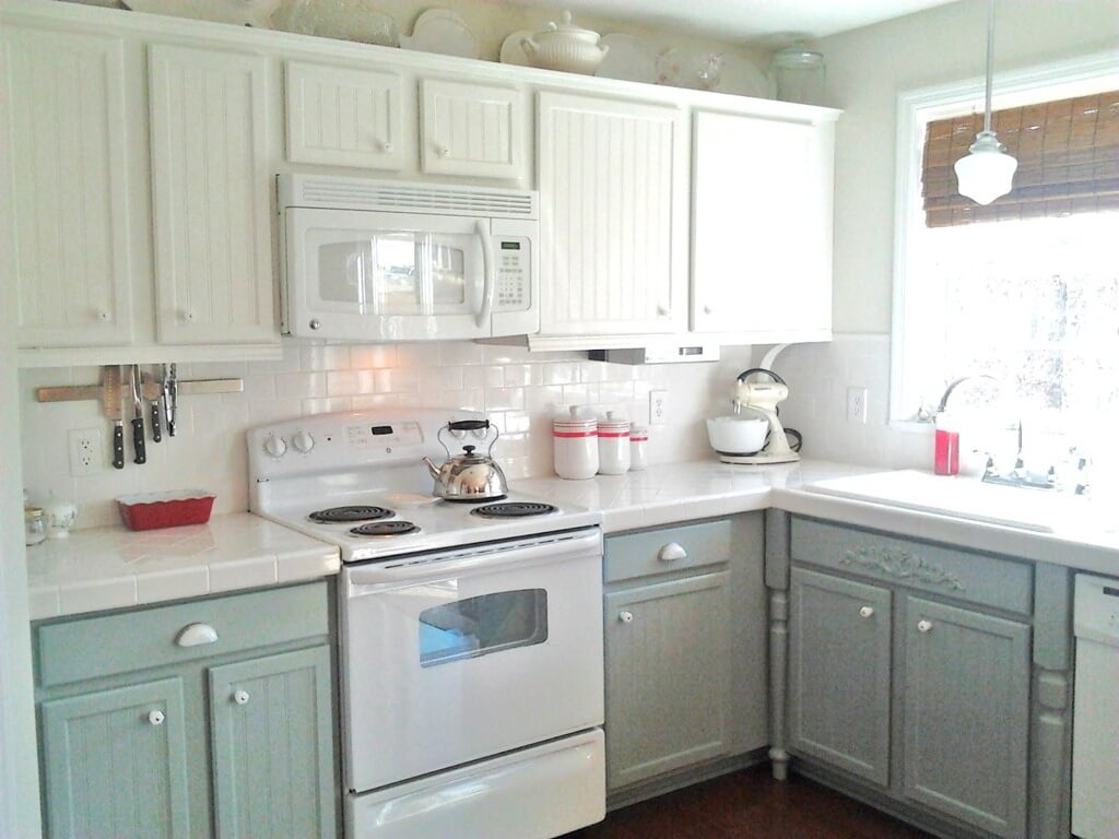 Two Tone Painted Kitchen Cabinets Using White And Grey
