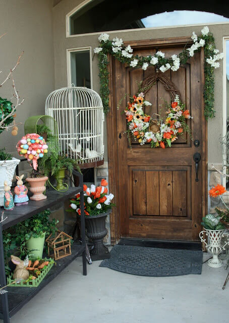 Egg tree with floral wreath | Best Easter Porch Decorating Ideas